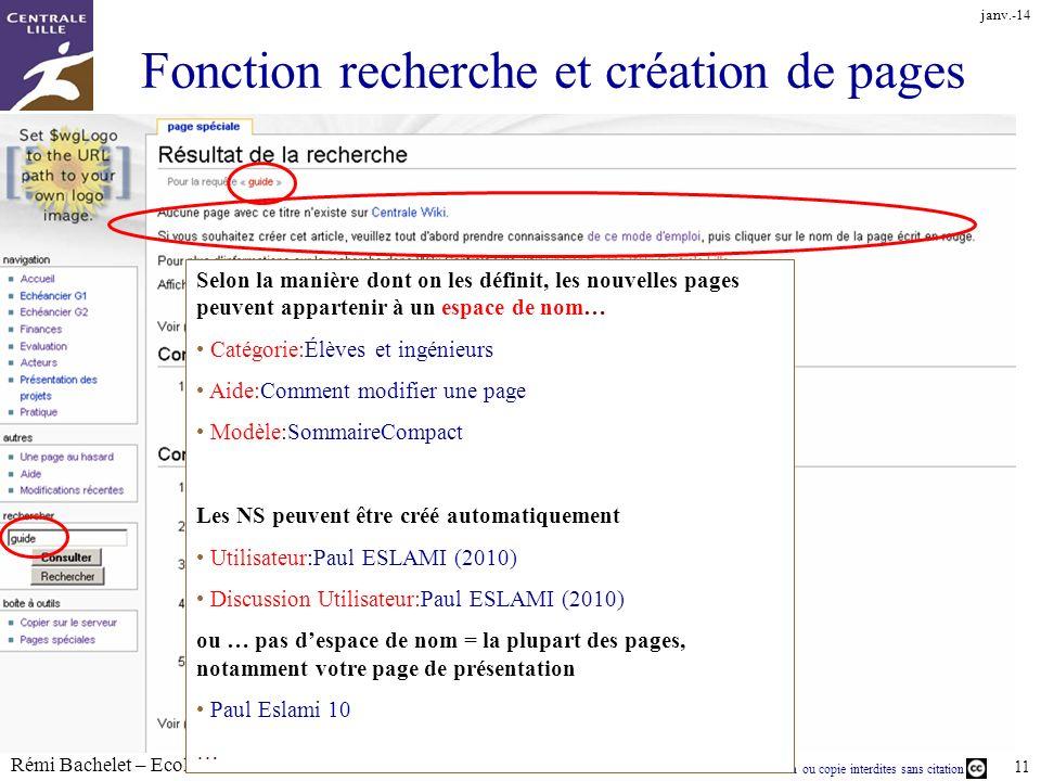 Fonction recherche et création de pages