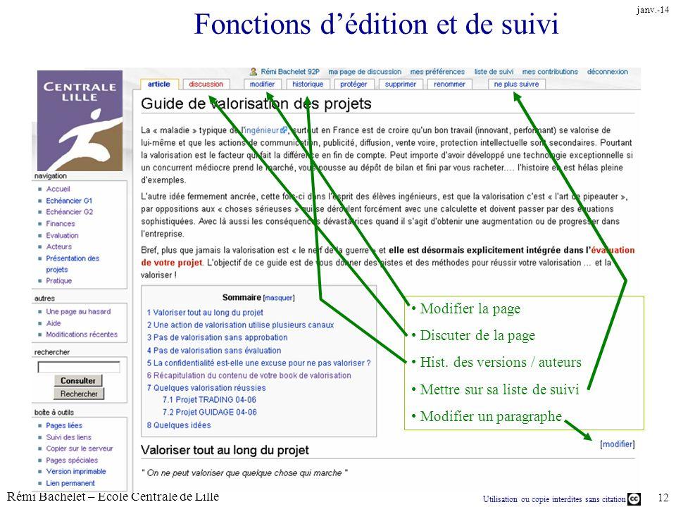 Fonctions d'édition et de suivi