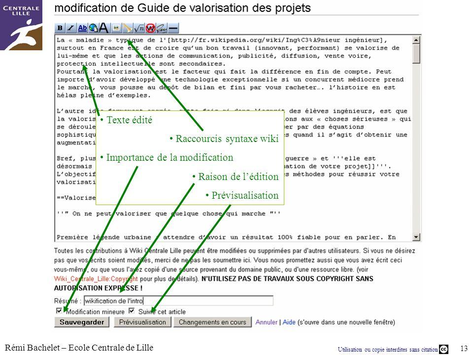 Texte éditéRaccourcis syntaxe wiki.Importance de la modification.