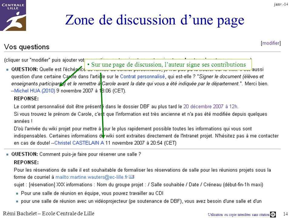Zone de discussion d'une page