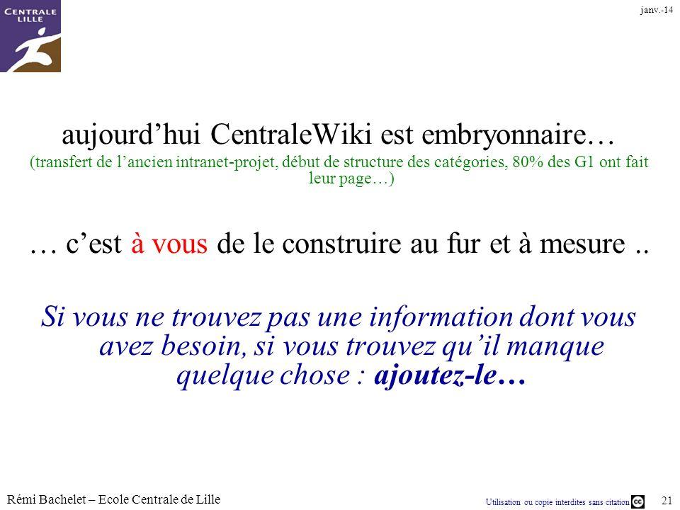aujourd'hui CentraleWiki est embryonnaire…