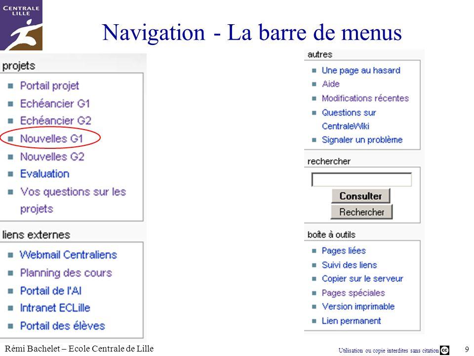 Navigation - La barre de menus