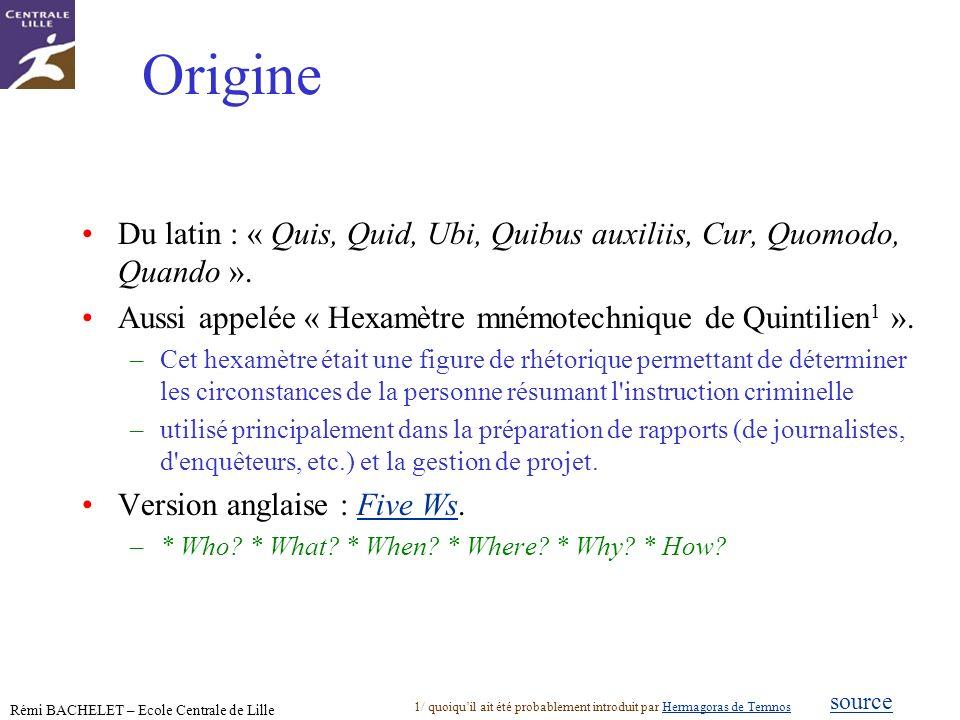 Origine Du latin : « Quis, Quid, Ubi, Quibus auxiliis, Cur, Quomodo, Quando ». Aussi appelée « Hexamètre mnémotechnique de Quintilien1 ».