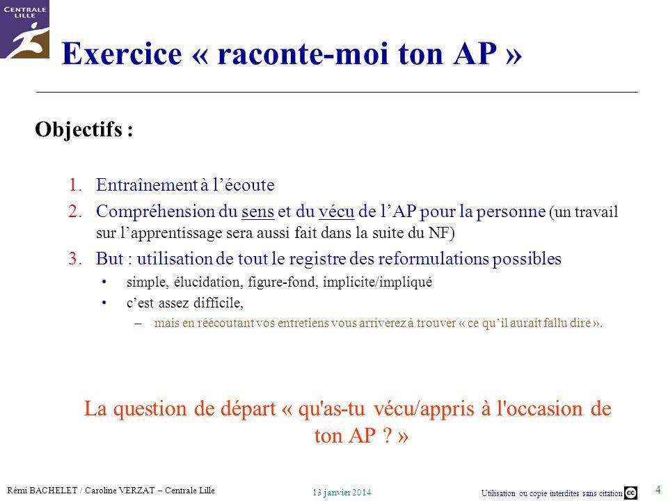 Exercice « raconte-moi ton AP »