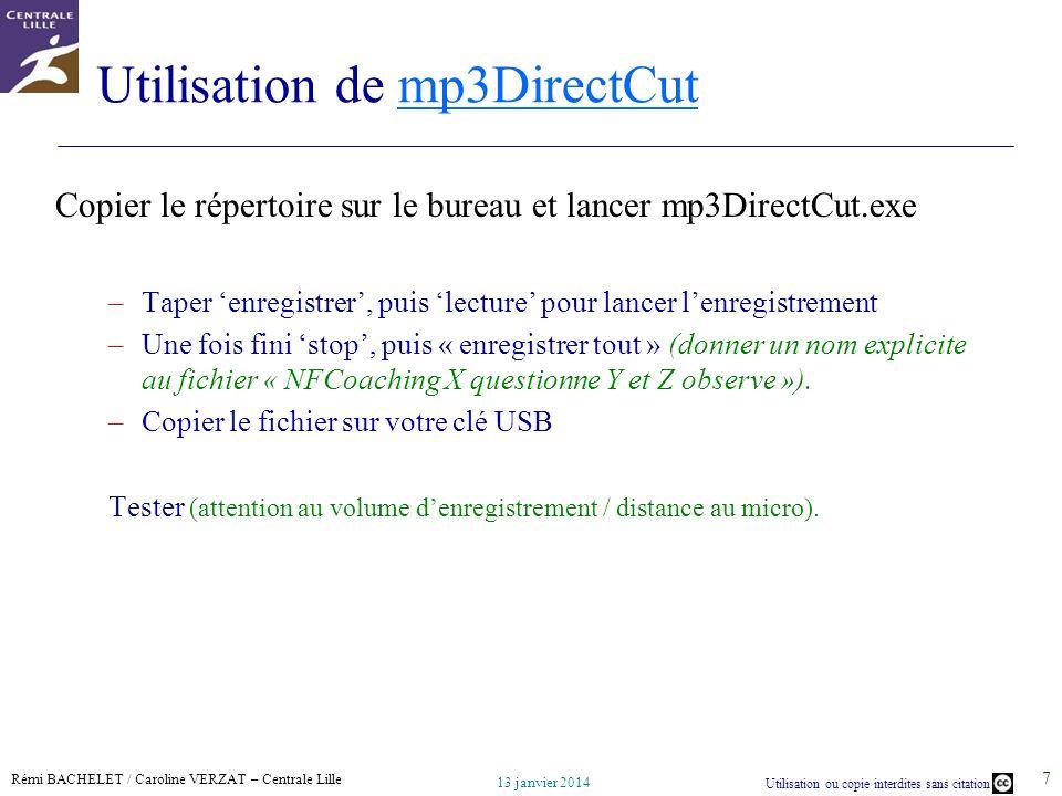 Utilisation de mp3DirectCut