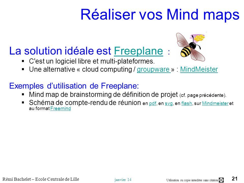 Réaliser vos Mind maps La solution idéale est Freeplane :