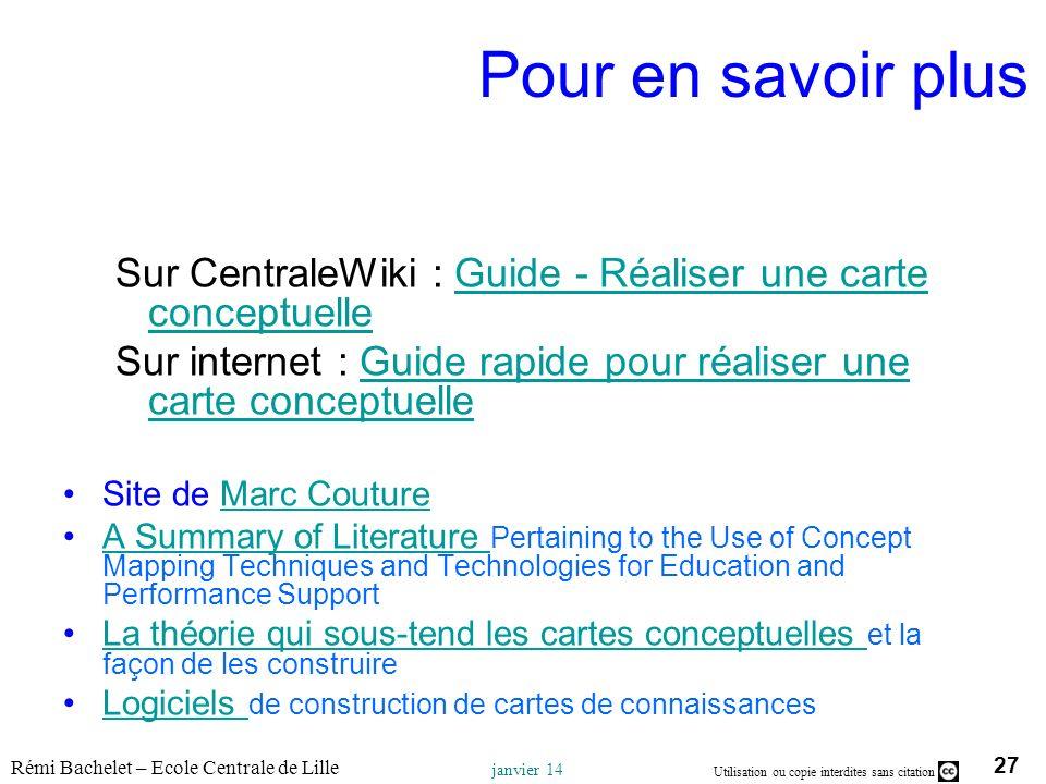 Pour en savoir plusSur CentraleWiki : Guide - Réaliser une carte conceptuelle. Sur internet : Guide rapide pour réaliser une carte conceptuelle.