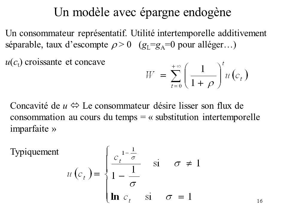 Un modèle avec épargne endogène