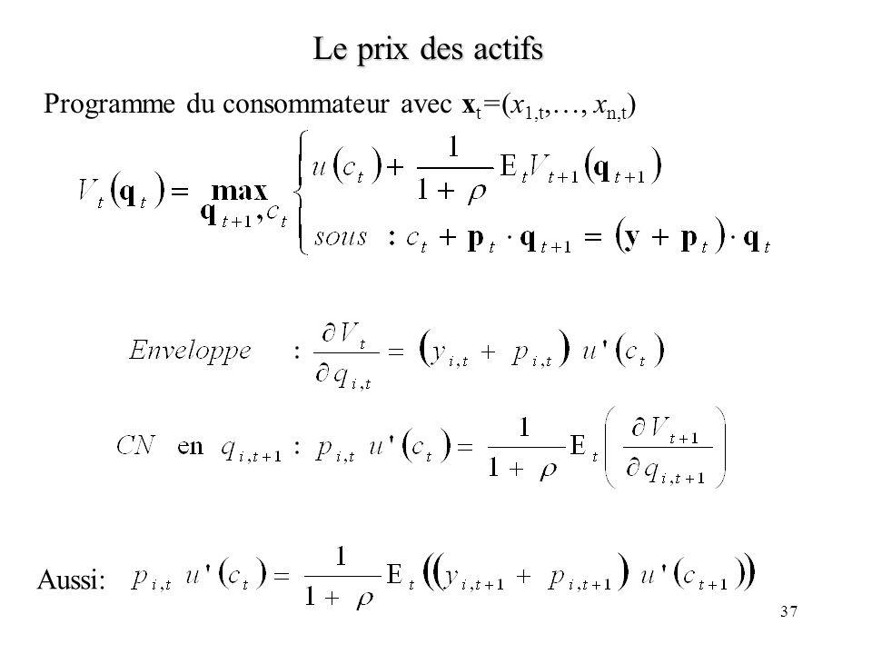 Le prix des actifs Programme du consommateur avec xt=(x1,t,…, xn,t)