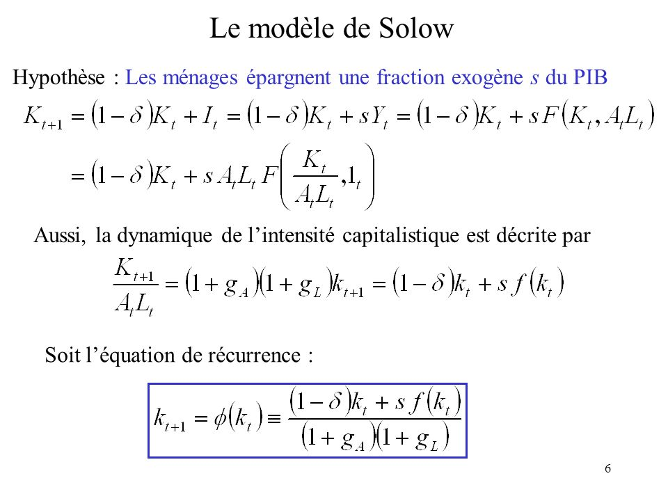 Le modèle de Solow Hypothèse : Les ménages épargnent une fraction exogène s du PIB.