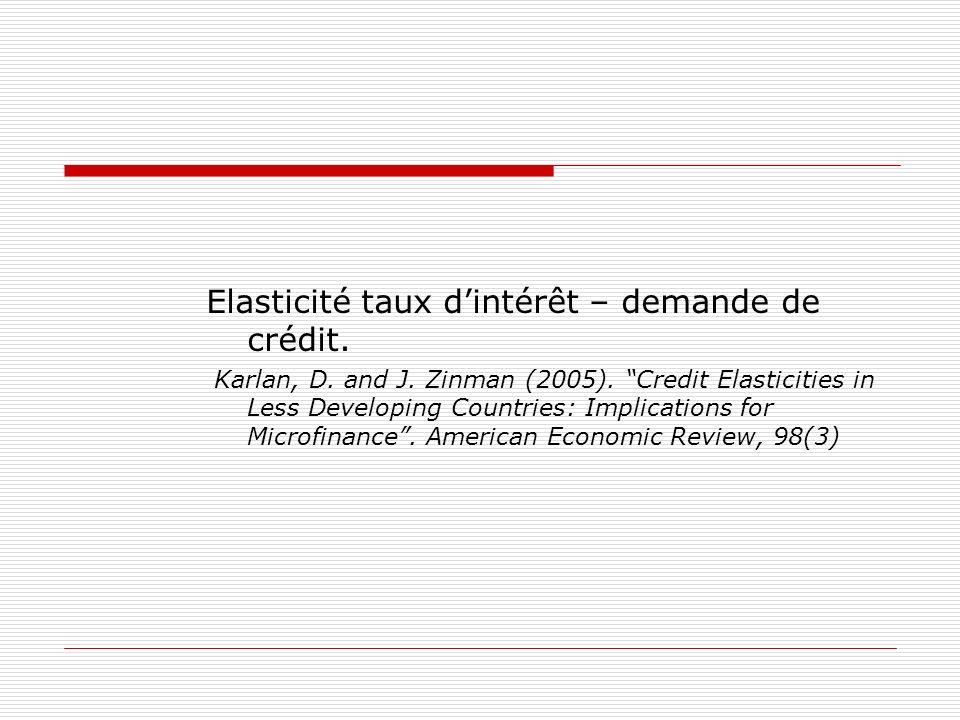 Elasticité taux d'intérêt – demande de crédit.