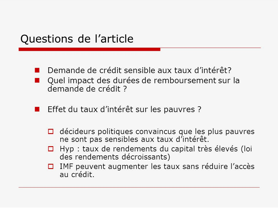 Questions de l'article