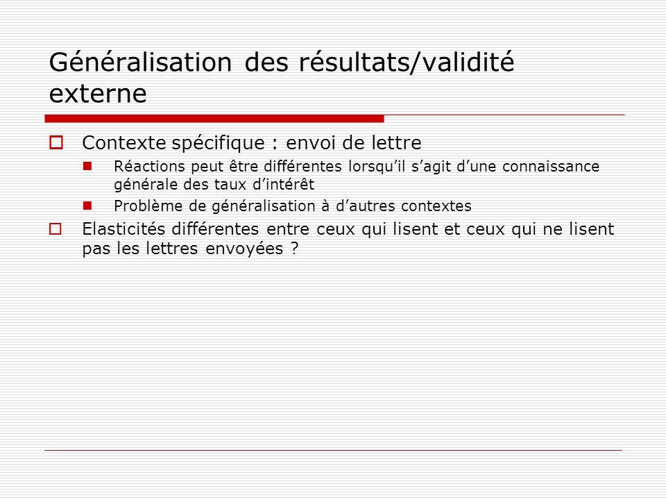 Généralisation des résultats/validité externe