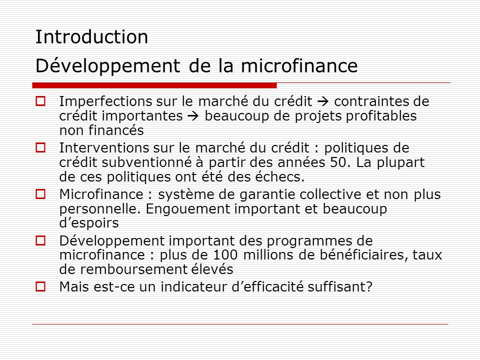 Introduction Développement de la microfinance