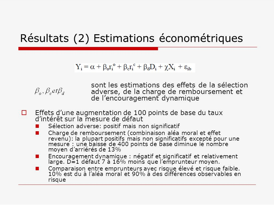 Résultats (2) Estimations économétriques