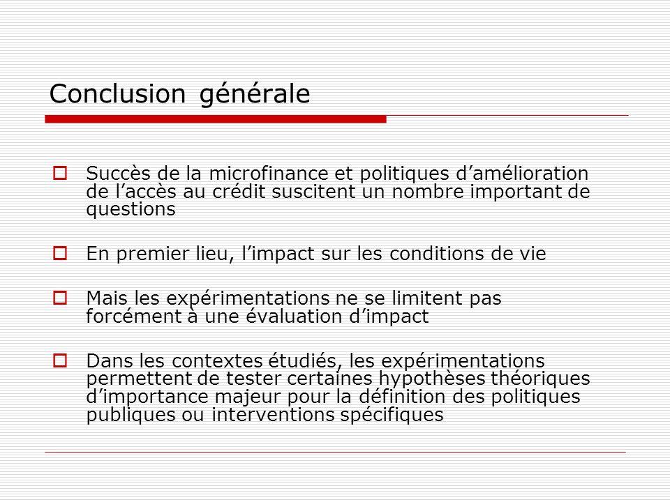 Conclusion générale Succès de la microfinance et politiques d'amélioration de l'accès au crédit suscitent un nombre important de questions.