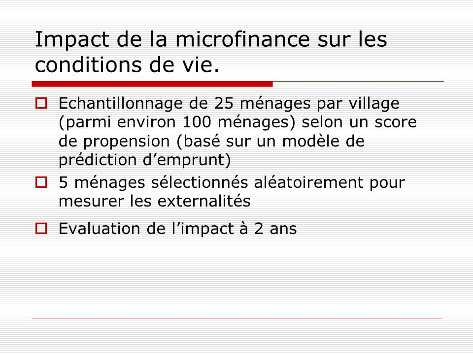 Impact de la microfinance sur les conditions de vie.