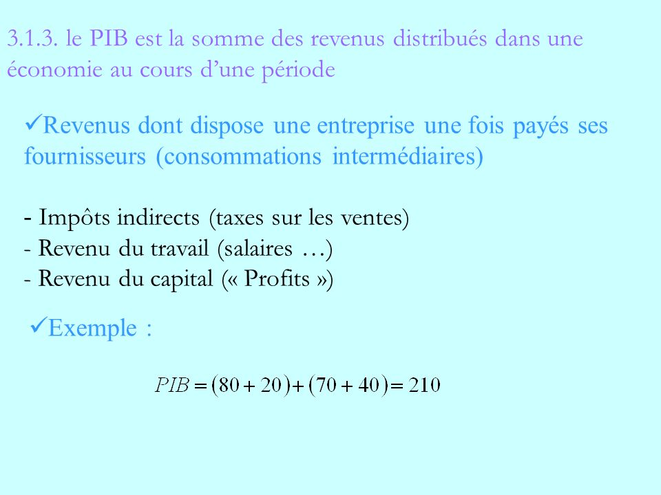 3.1.3. le PIB est la somme des revenus distribués dans une économie au cours d'une période