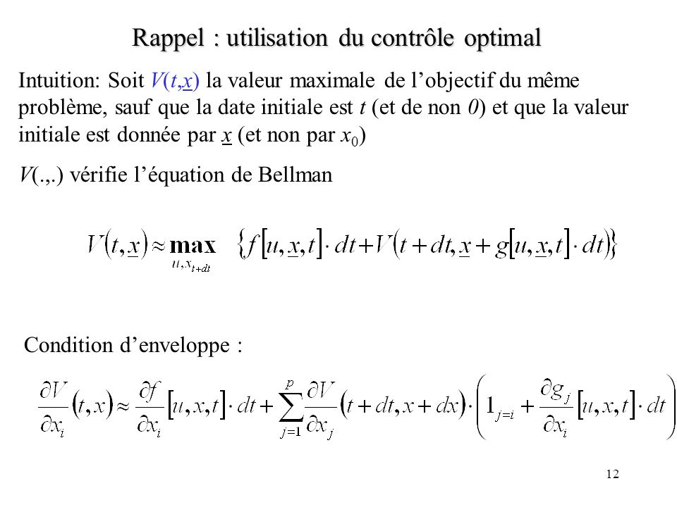 Rappel : utilisation du contrôle optimal