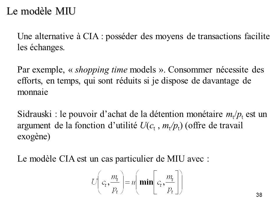 Le modèle MIU Une alternative à CIA : posséder des moyens de transactions facilite les échanges.