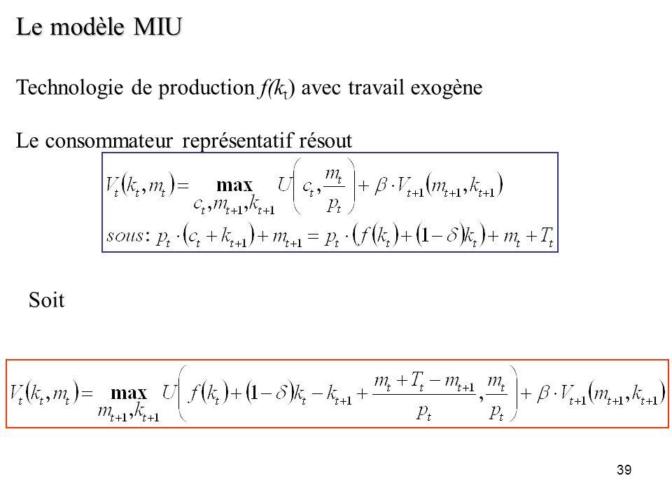 Le modèle MIU Technologie de production f(kt) avec travail exogène