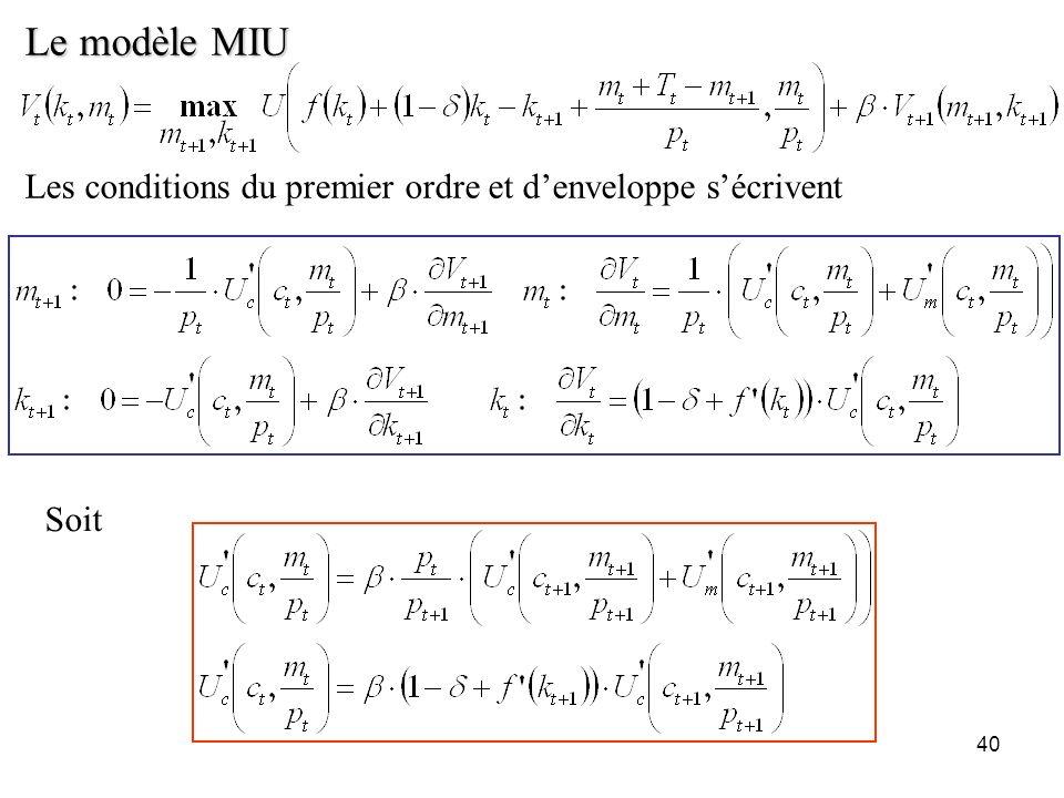 Le modèle MIU Les conditions du premier ordre et d'enveloppe s'écrivent Soit