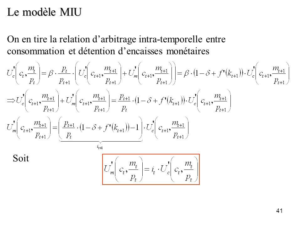 Le modèle MIUOn en tire la relation d'arbitrage intra-temporelle entre consommation et détention d'encaisses monétaires.