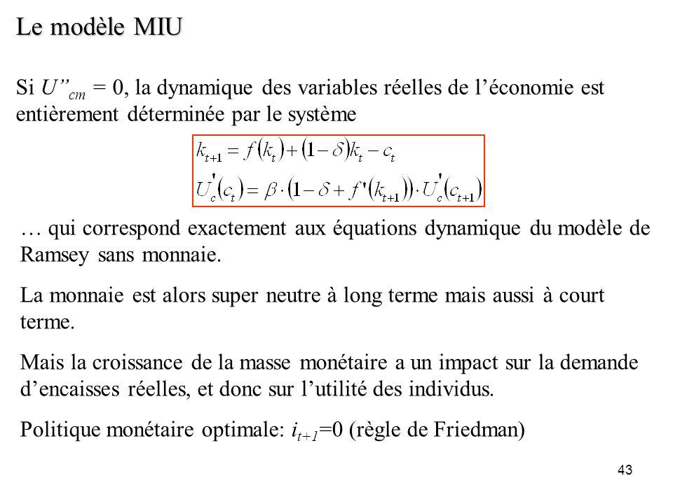 Le modèle MIU Si U''cm = 0, la dynamique des variables réelles de l'économie est entièrement déterminée par le système.