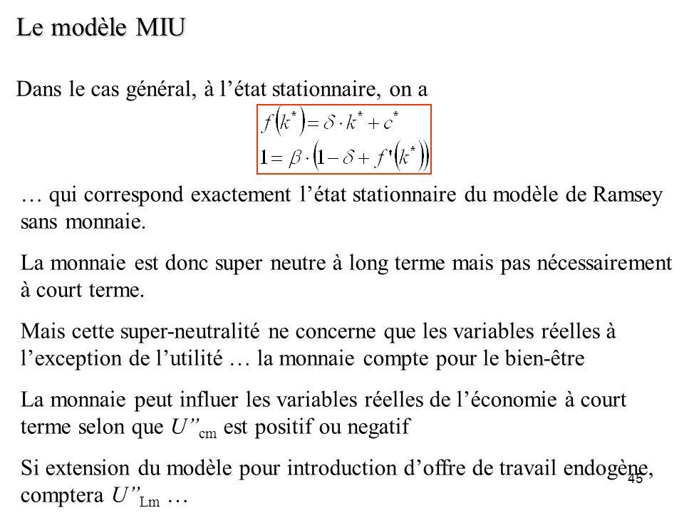 Le modèle MIU Dans le cas général, à l'état stationnaire, on a
