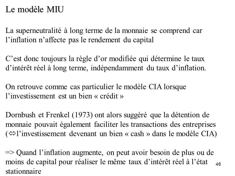 Le modèle MIU La superneutralité à long terme de la monnaie se comprend car l'inflation n'affecte pas le rendement du capital.