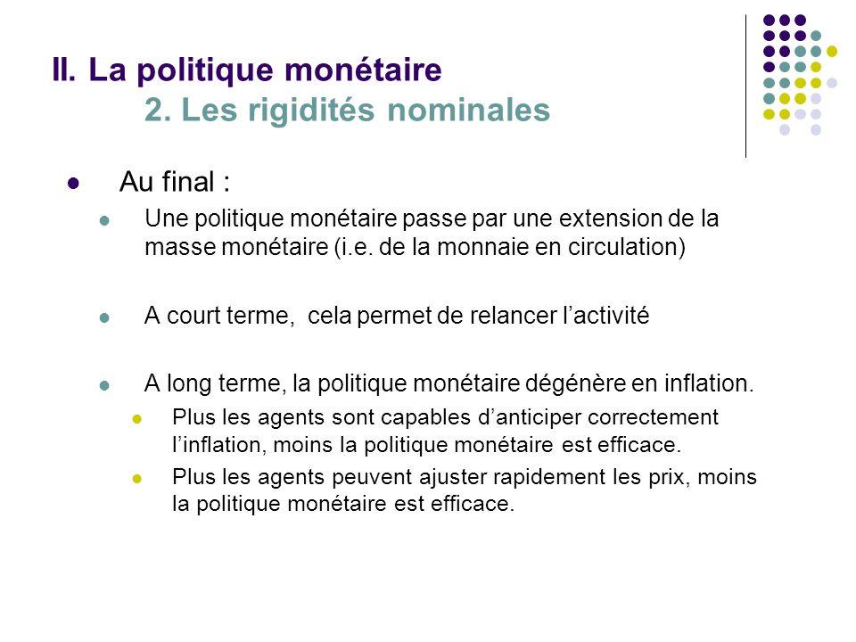II. La politique monétaire 2. Les rigidités nominales