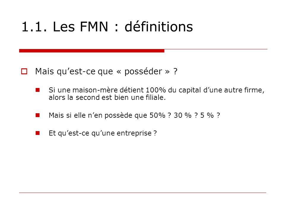 1.1. Les FMN : définitions Mais qu'est-ce que « posséder »