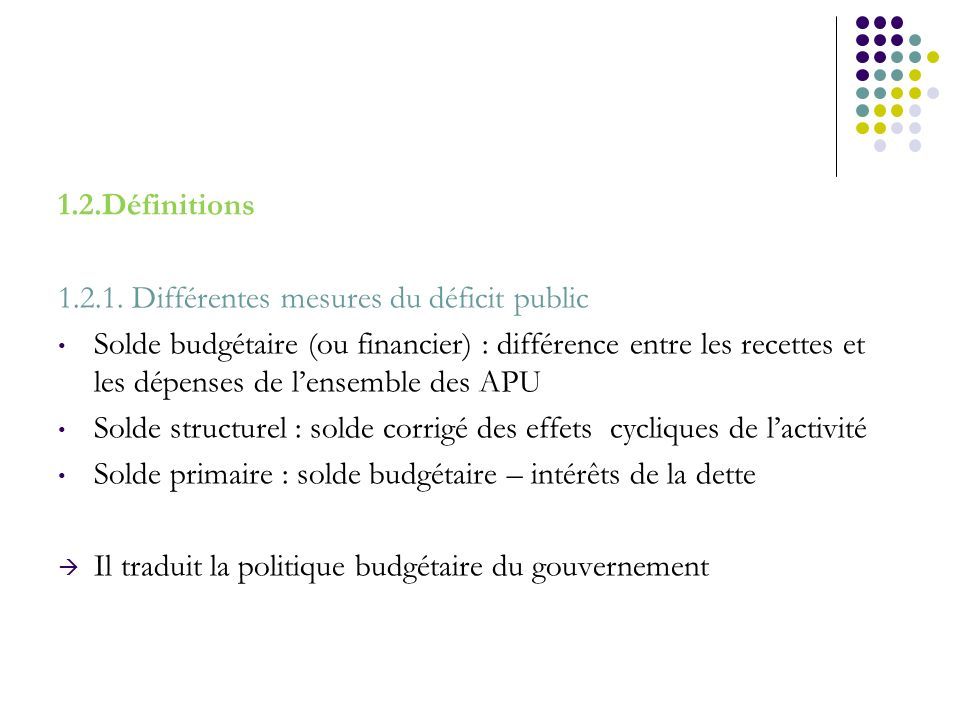 1.2.Définitions1.2.1. Différentes mesures du déficit public.