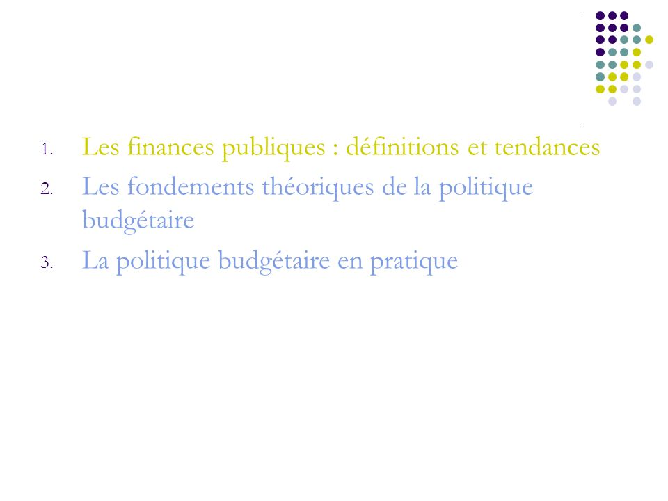 Les finances publiques : définitions et tendances