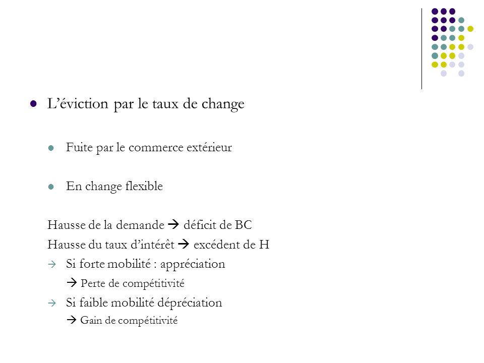 L'éviction par le taux de change