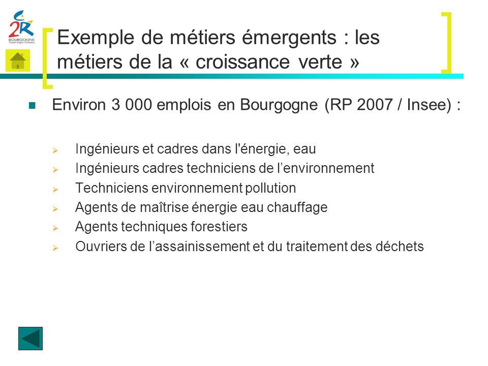 Exemple de métiers émergents : les métiers de la « croissance verte »