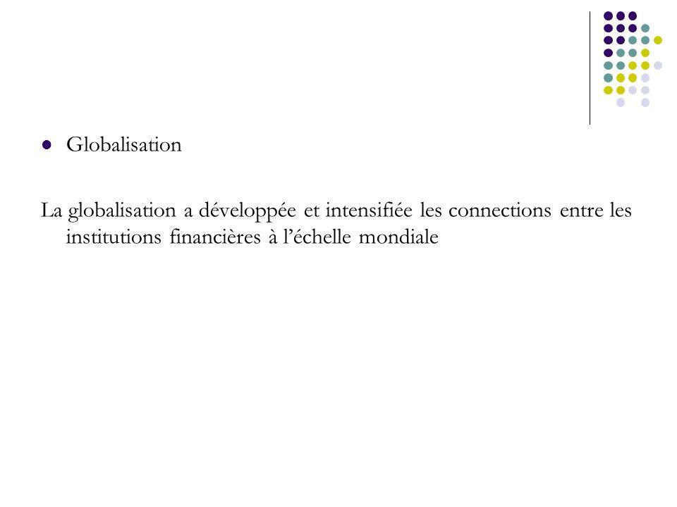 Globalisation La globalisation a développée et intensifiée les connections entre les institutions financières à l'échelle mondiale.