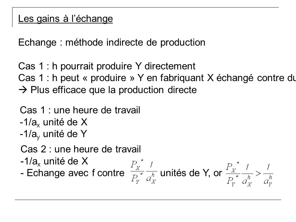 Les gains à l'échangeEchange : méthode indirecte de production. Cas 1 : h pourrait produire Y directement.