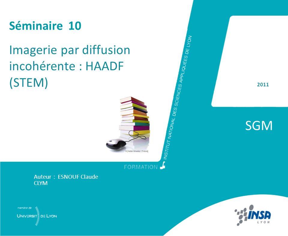 SGM Imagerie par diffusion incohérente : HAADF (STEM) Séminaire 10