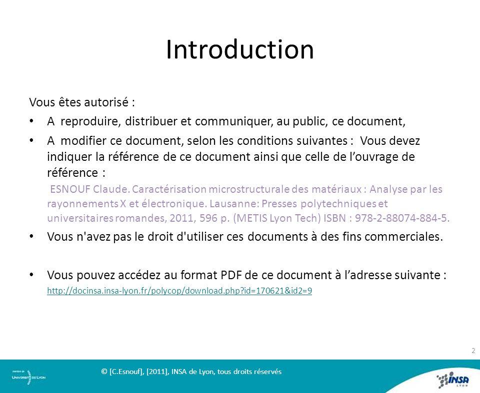 Introduction Vous êtes autorisé :
