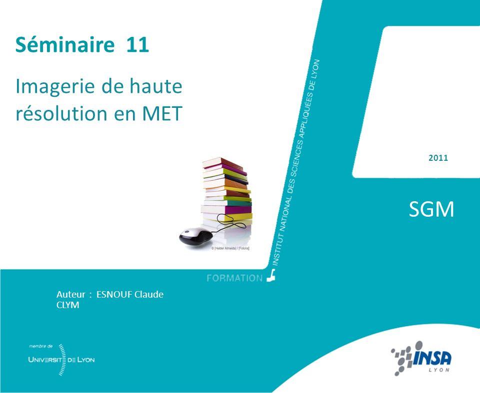 SGM Séminaire 11 Imagerie de haute résolution en MET