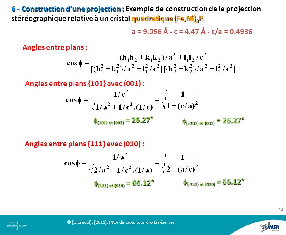 Angles entre plans {101} avec (001) :