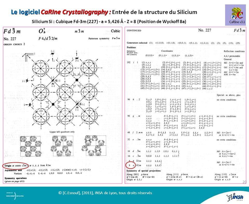 Le logiciel CaRIne Crystallography : Entrée de la structure du Silicium