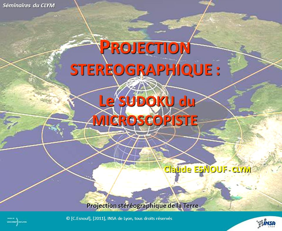PROJECTION STEREOGRAPHIQUE :