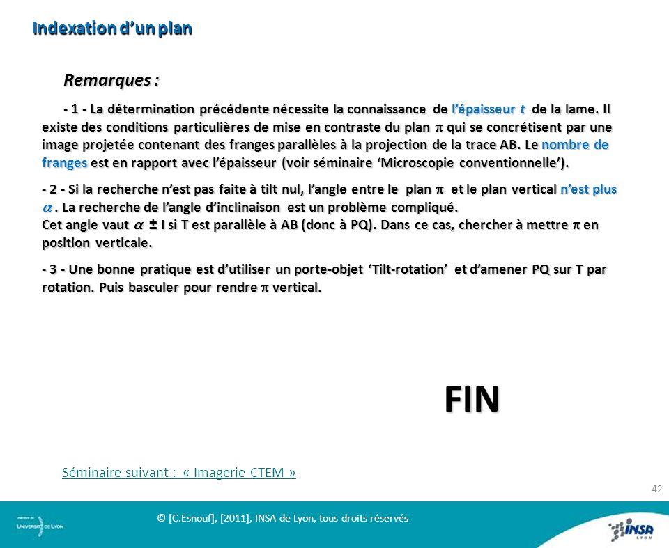 Indexation d'un plan Remarques :