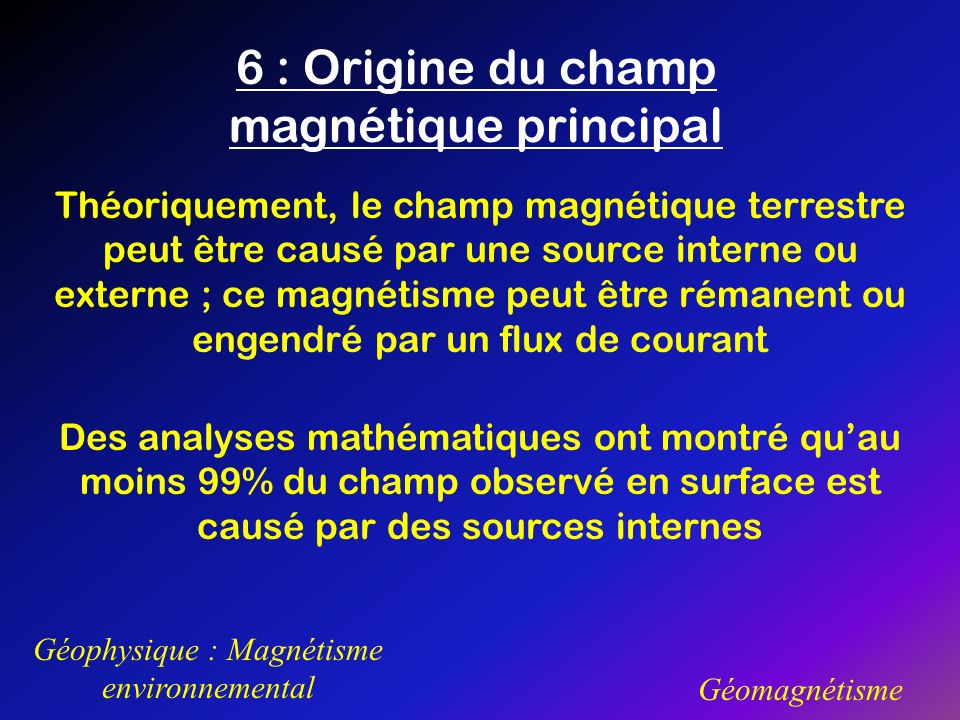 6 : Origine du champ magnétique principal