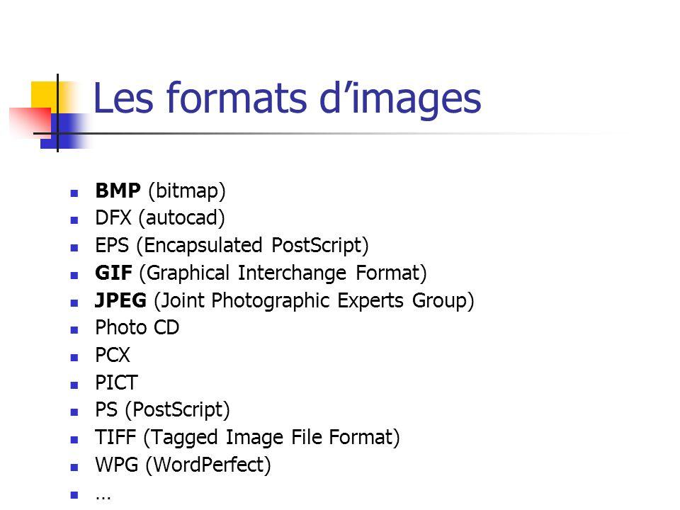 Les formats d'images BMP (bitmap) DFX (autocad)