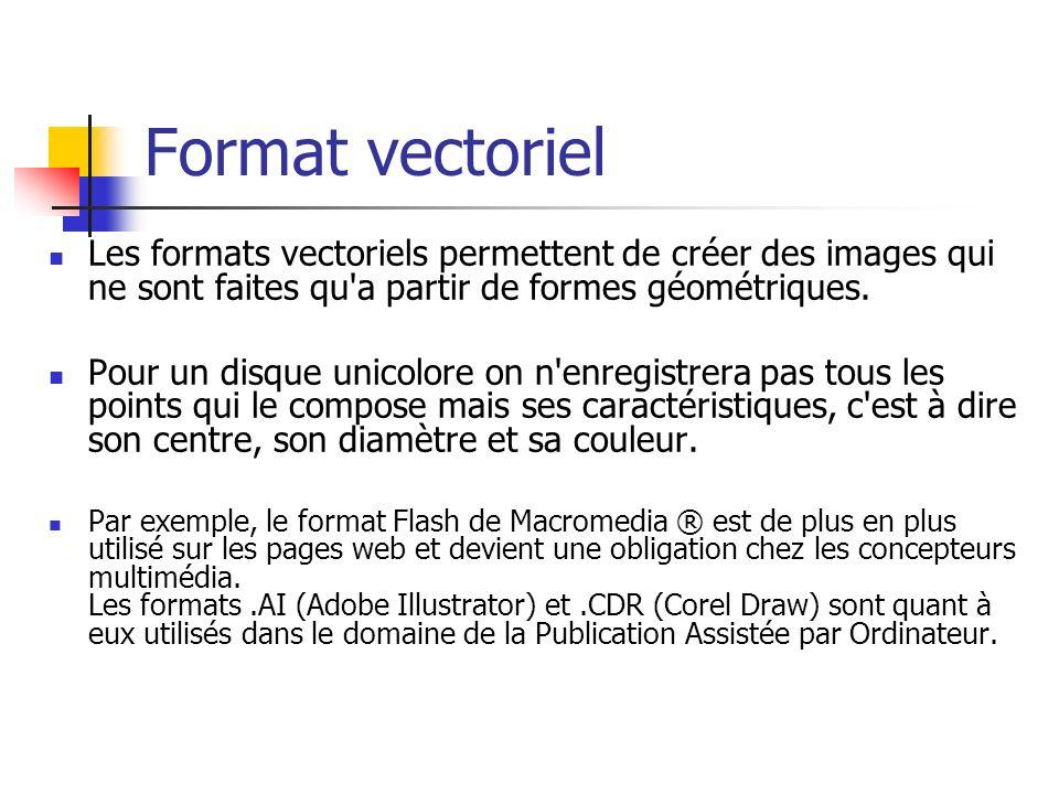 Format vectorielLes formats vectoriels permettent de créer des images qui ne sont faites qu a partir de formes géométriques.