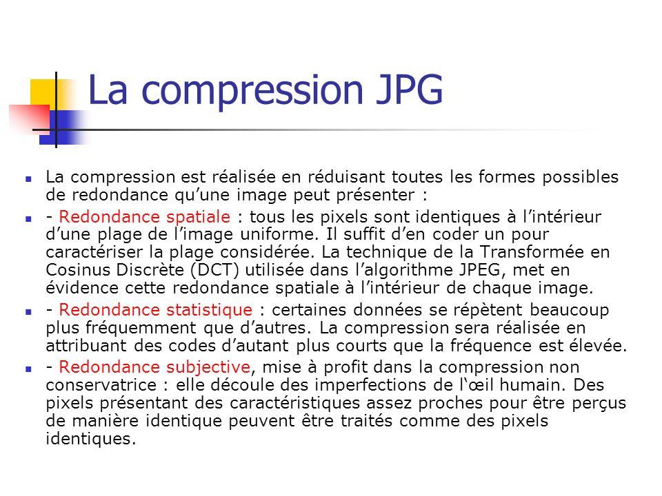 La compression JPG La compression est réalisée en réduisant toutes les formes possibles de redondance qu'une image peut présenter :