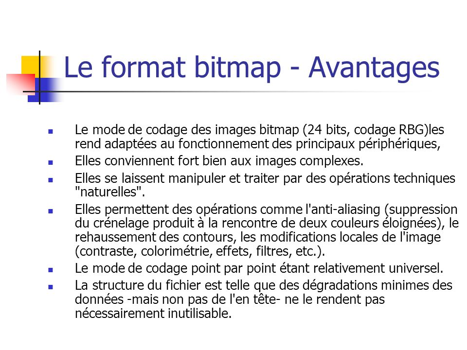 Le format bitmap - Avantages